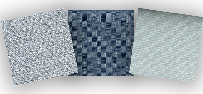 Three of our most popular blue fabrics, from left to right: Zeta Mineral, Senna Denim and Harbour Duck Egg.