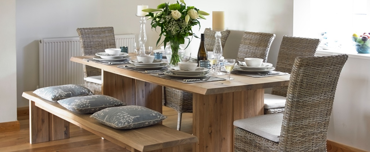 Derwent Table With Colombia Rattan Chairs And Derwent Bench